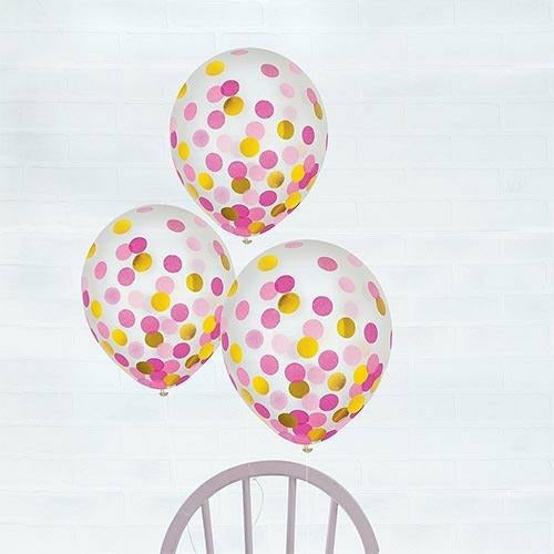 936 Gold & Pink Confetti Balloons 6ct