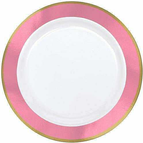 Gold & Pink Border Premium Plastic Dinner Plates 10ct