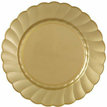 Gold Premium Plastic Scalloped Lunch Plates 12ct