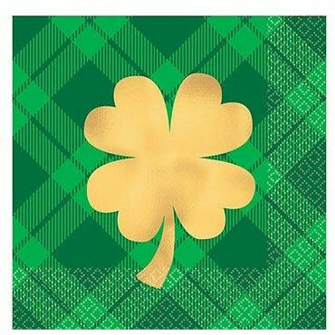 Gold Shamrock Plaid Beverage Napkins 16ct