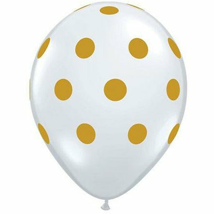"Gold Polka Dots Clear 11"" Latex Balloon"