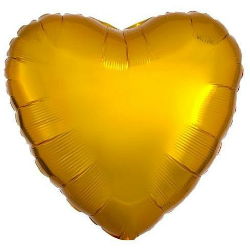 "047 Gold HX Metallic Heart 19"" Mylar Balloon"