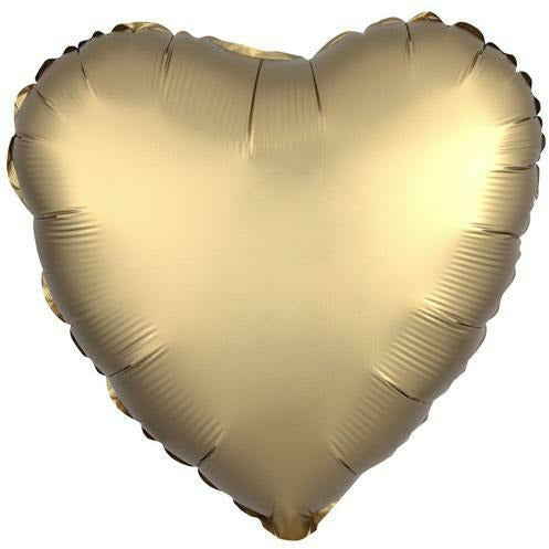 "027 Gold Sateen HX Satin Luxe Heart 19"" Mylar Balloon"