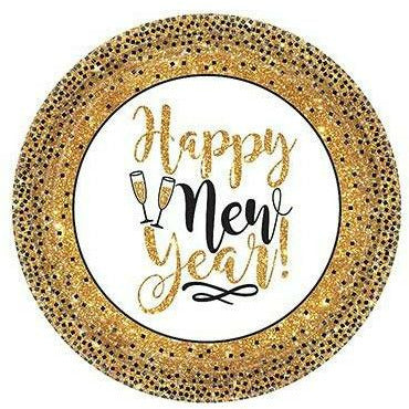 Gold Glitter New Year's Dessert Plates 18ct