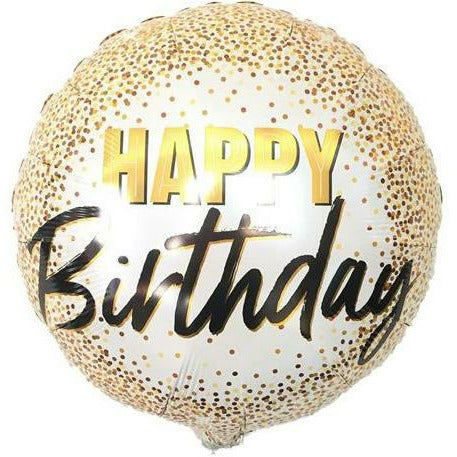 "445 Golden Happy Birthday 18"" Mylar Balloon"