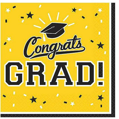 Yellow Congrats Grad Lunch Napkins 36ct