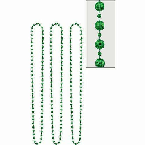 Green Disco Bead Necklaces 3ct