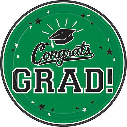 Green Congrats Grad Lunch Plates 18ct
