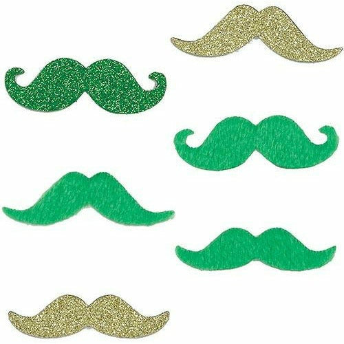 Green & Gold St. Patrick's Day Moustaches 6ct