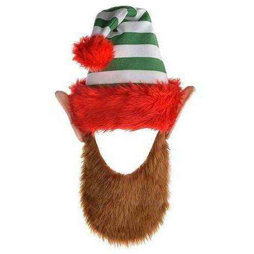 Green Striped Elf Hat with Beard