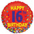 "452 Red Happy 16th Birthday 18"" Mylar Balloon"