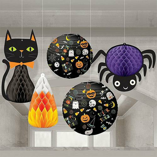 Friendly Halloween Honeycomb Decorations & Paper Lanterns 5ct