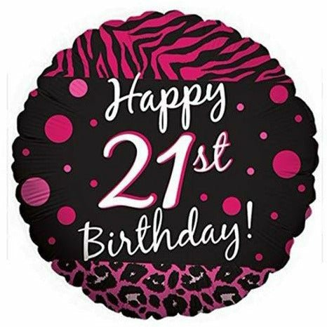 "E004 Happy 21st Birthday Pink Black 18"" Mylar Balloon"