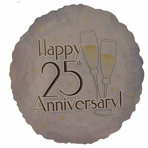 "*A007 Happy 25th Anniversary 18"" Mylar Balloon"