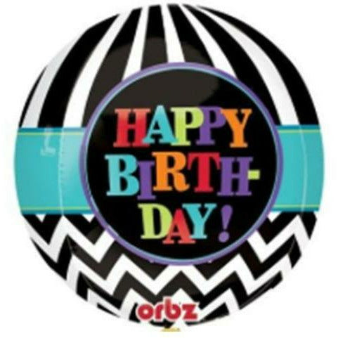 "C010 Happy Birthday Orbz 15"" Mylar Balloon"