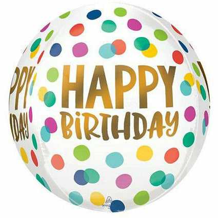 "415 Happy Birthday Dots Orbz 16"" Mylar Balloon"