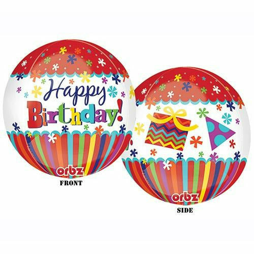 "C012 Happy Birthday Red Orbz 15"" Mylar Balloon"