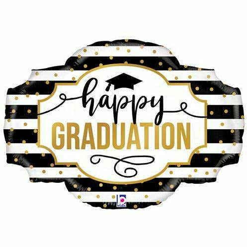 "Happy Graduation Black White Jumbo 32"" Mylar Balloon"