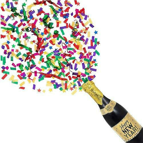 Happy New Year Champagne Bottle Confetti Popper