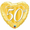 "569 Heart Happy 50th 18"" Mylar Balloon"