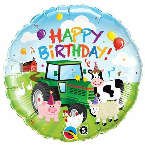 "313 Barnyard Tractor Happy Birthday 18"" Mylar Balloon"