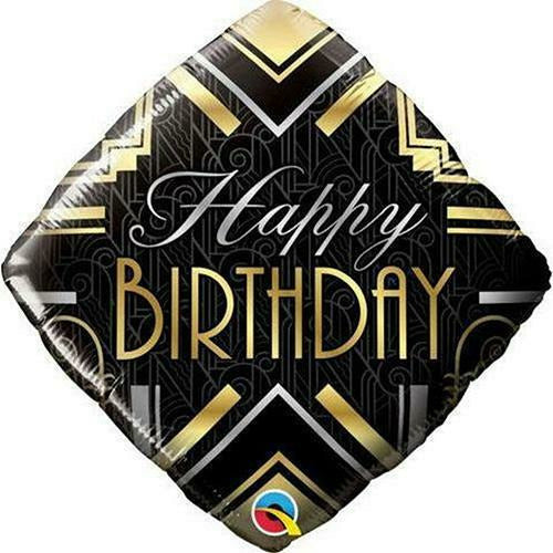"437 Black and Gold Happy Birthday 18"" Mylar Balloon"