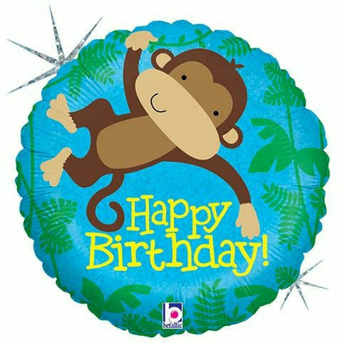 "*A002 Monkey Happy Birthday 18"" Mylar Balloon"