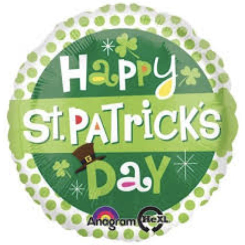 "18"" Happy St. Patrick's Day Polka Dot Mylar Balloon"