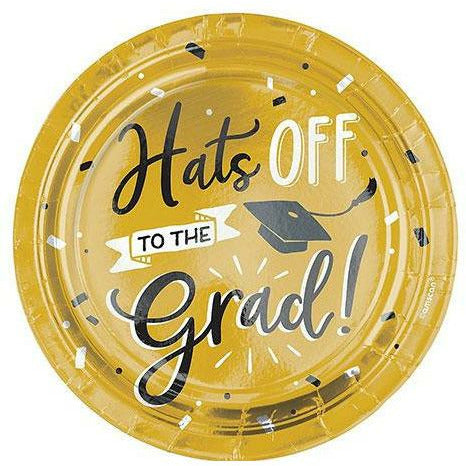 Black & Gold Hats Off Graduation Paper Dessert Plates, 7in, 8ct