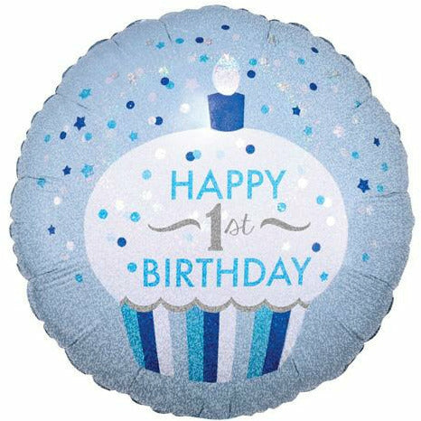 "498 Blue Cupcake Happy 1st Birthday 18"" Mylar Balloon"