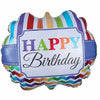 "D003 Stripes Happy Birthday Jumbo 25"" Mylar Balloon"