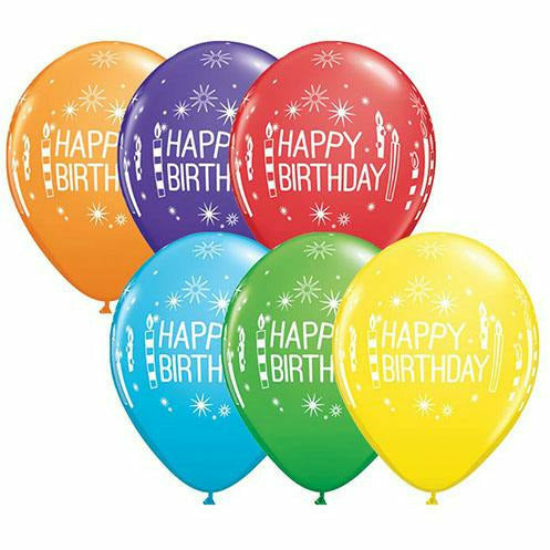 "Happy Birthday Candles Starbursts Mixed Assortment 11"" Latex Balloon"