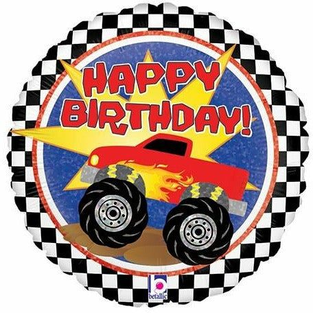 "209 Happy Birthday Monster Truck 18"" Mylar Balloon"