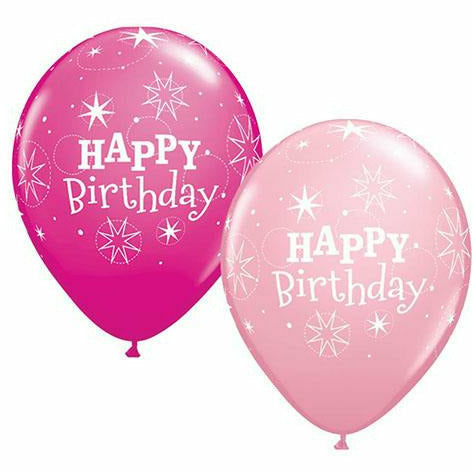 "Happy Birthday Sparkle Pink Mixed Assortment 11"" Latex Balloon"