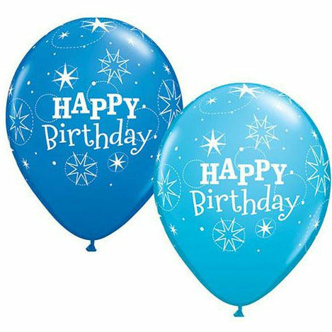 "Happy Birthday Sparkle Blue Mixed Assortment 11"" Latex Balloon"