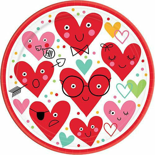 Heart Face Lunch Plates 18ct