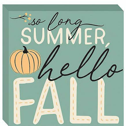 Hello Fall Block Sign