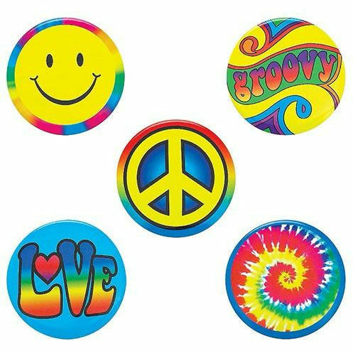 Hippie Buttons 6ct