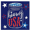 Q1 Patriotic Hooray USA Beverage Napkins 36ct