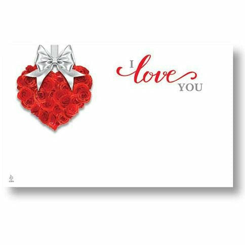 I Love You Red Rose Heart Card