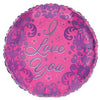 "579 Pink Damask I Love You 18"" Mylar Balloon"