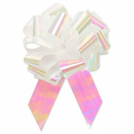 Iridescent White Pull Bow 5in