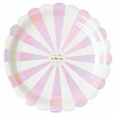 Iridescent Fan Stripe Plates (large)