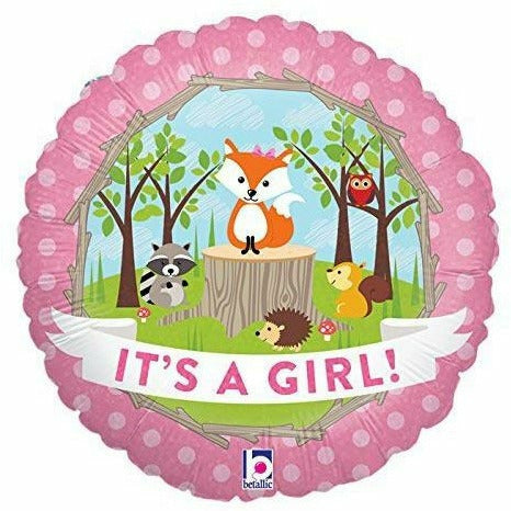 "E009 It's a Girl Pink Fox Woodland 18"" Mylar Balloon"
