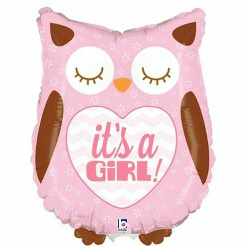 "D014 Pink Owl It's a Girl Jumbo 26"" Mylar Balloon"