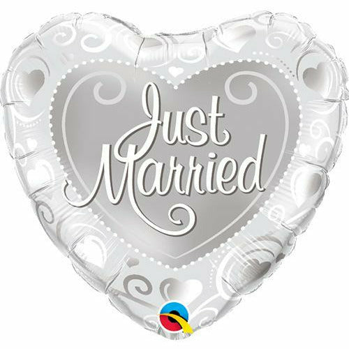"Heart Just Married 18"" Mylar Balloon"