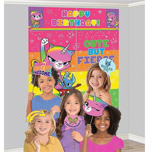 Rainbow Butterfly Unicorn Kitty Scene Setter with Photo Booth Props