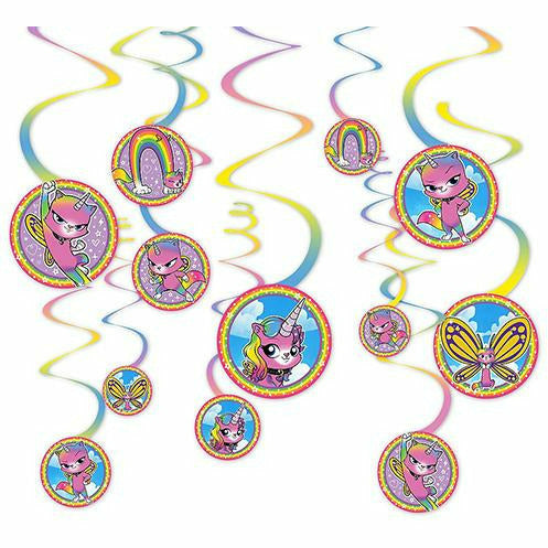 Rainbow Butterfly Unicorn Kitty Swirl Decorations 12ct