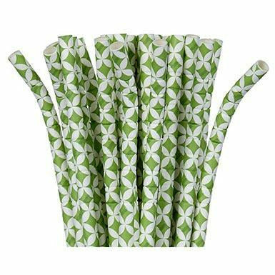 Kiwi Green Diamond Flexible Paper Straws 24ct