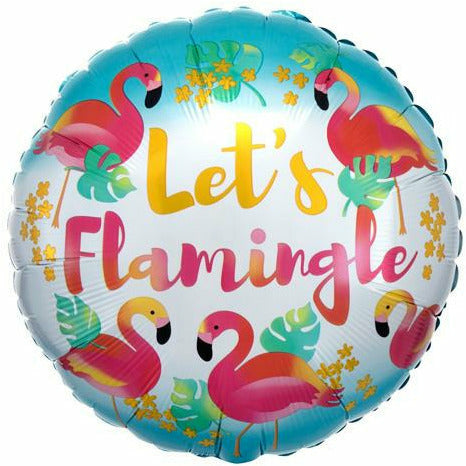 "300 Let's Flamingle 18"" Mylar Balloon"